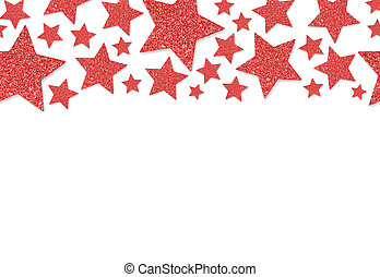 Border with red stars of sequin confetti. Glitter powder sparkling background.