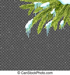 Border with relistic firtree, snow and icicles over transparent background. Winter snowfall.