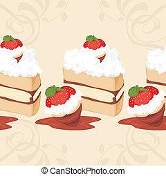 Border with strawberry cake