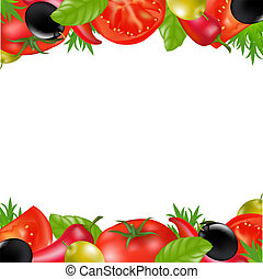 Border With Vegetables, Isolated On White Background, Vector...