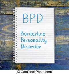 borderline, bpd-, de madera, escrito, desorden, plano de fondo, personalidad, cuaderno