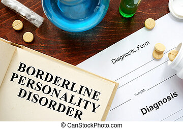 borderline personality disorder written on book with...