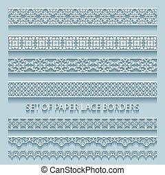 borders., décoratif, ensemble, éléments, illustration, collection, dentelle, papier, volumétrique