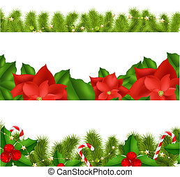 Borders Fir-tree Branches With Holly Berry Set With Gradient...