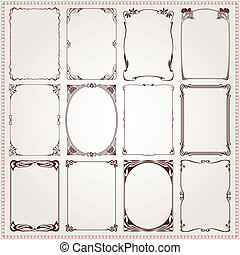 Decorative frames and borders set Art Nouveau style vector