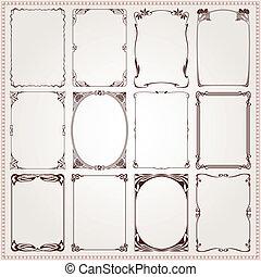 Borders frames Art Nouveau style - Decorative frames and...