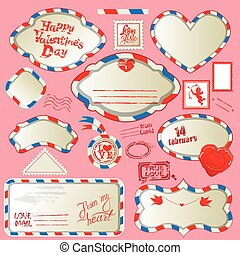 Borders in post mail style with handwritten calligraphic text Happy Valentines Day, design elements for holidays. Collection of stamps, envelops, labels, Frames. Made with love.