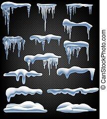 borders., isolé, neige, boule de neige, elements., set., glaçons, vecteur, snowcap, congère, hiver