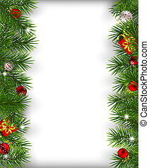 Christmas background - Borders made of fir branches...