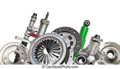 Borders of automotive parts. Isolated on white