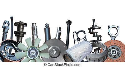 Borders of car parts isolated