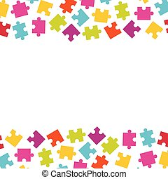 Borders of colorful jigsaw puzzle pieces. Frame of colorful puzz