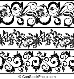 Borders - Set from three black and white borders