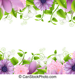 Summer illustration With Flowers, Isolated On White Background, Vector Illustration