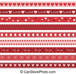 Borders with hearts - Seamless romantic border lines with...