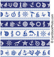 Borders with Nautical and sea symbols