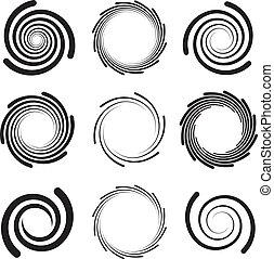 bordes, redondeado, espirales