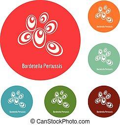Bordetella pertussis icons circle set vector isolated on...