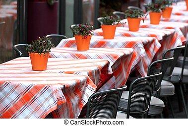 bordläggar, brocket, restaurang, lagt, stilig, bordduk