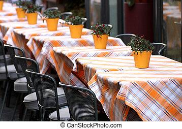 bordläggar, brocket, restaurang, lagt, stilig, bordduk, typisk, italiensk
