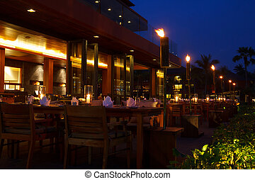 bordläggar, kväll, restaurang, utomhus- bordlägga, inställning