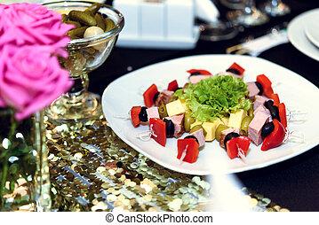 bordläggar, restaurang, cathering, appetizer, födelsedag, lyxvara, stilig, dekorerat, firande