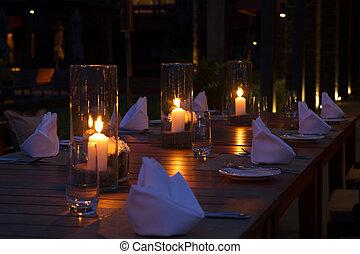 bordläggar, utomhus, inställning, restaurang