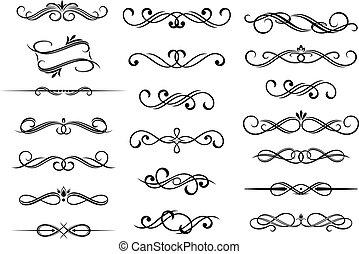 bordo, calligraphic, elementi, set