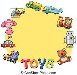 bordo, disegno, con, lotti giocattoli
