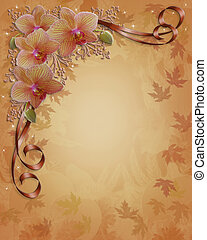 bordo, floreale, cadere, autunno, orchidee