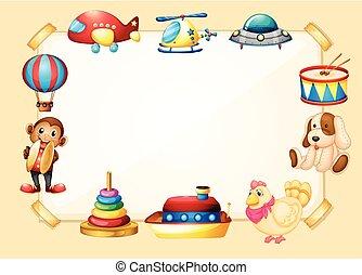 bordo, sagoma, con, molti, giocattoli
