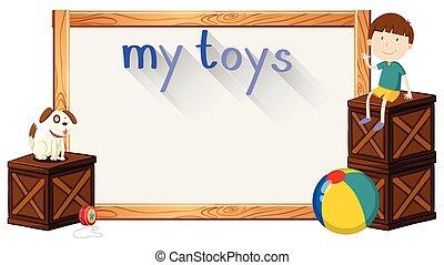 bordo, sagoma, con, ragazzo, e, giocattoli
