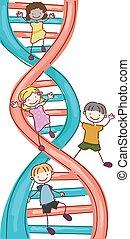 bordo, stickman, bambini, dna, illustrazione