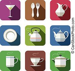 bordsservis, sätta, kök, ikonen
