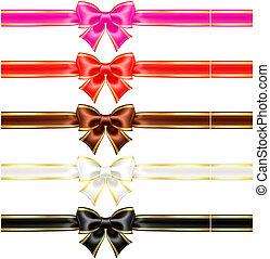 bordure, couleurs, chaud, rubans, arcs