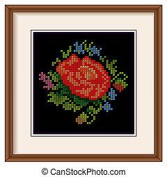 borduurwerk, frame, roos, ouderwetse