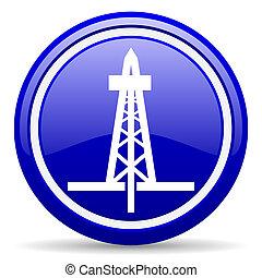 bore, blå, blanke, ikon, på hvide, baggrund
