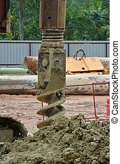 Bore pile rig auger at the construction site in Malaysia on...