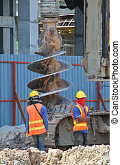 Bore pile rig auger at the construction site in Selangor,...