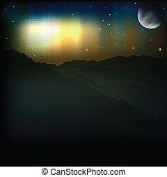 borealis, abstrakcyjny, jutrzenka, tło