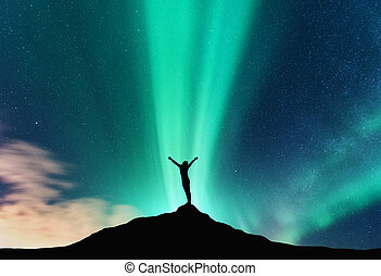 borealis, aurora, donna, silhouette, felice