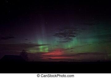 borealis, aurora, granaio, sopra, casa