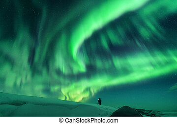 borealis, aurora, silhouette, collina, uomo