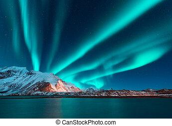 borealis, berg, dageraad, sneeuw, boven, bedekt