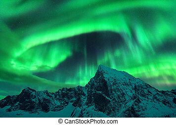borealis, berg, dageraad, sneeuwpiek, boven, bedekt