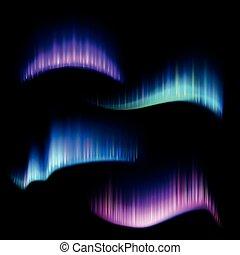 borealis, conjunto, tiras, norteño, aurora, luces, vector