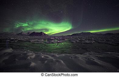 borealis, dageraad, -, arctisch, landscape