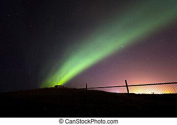 borealis, dageraad, ijsland, noordelijk licht