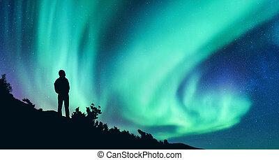 borealis, donna, silhouette, aurora, notte, zaino