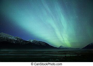 borealis, encima, auroa, entrada, chilkat